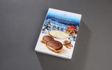 Ciasteczka Kardynałki, herbatniki z kremem kakaowo-orzechowym (32%) z mleczną czekoladą