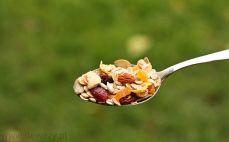 Łyżka musli z orzechami i suszonymi owocami