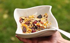 Porcja musli z orzechami i suszonymi owocami