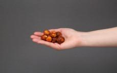 Garść orzeszków macadamia prażonych, z cukrem, miodem i chilli