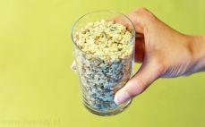 Szklanka ryżu z algami i soczewicą
