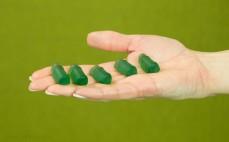 5 żelków o smaku napoju Frugo mocno zielone